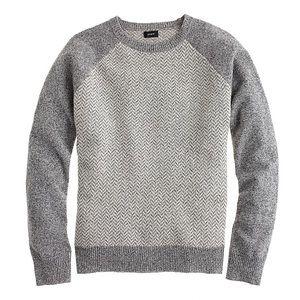 J. Crew Lambswool Herringbone Baseball Sweater L